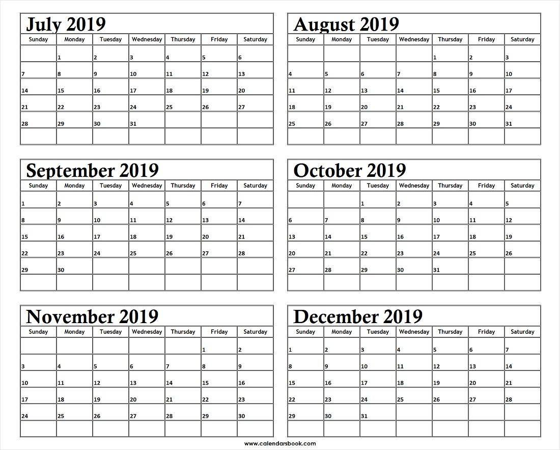 Monthly Calendar Jul Aug Sep Oct Nov Dec 2019 Template | 6