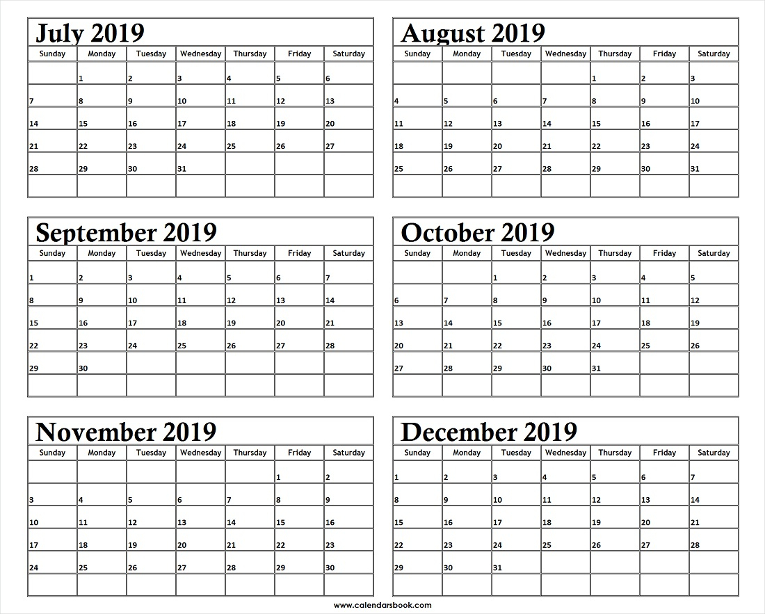Monthly Calendar Jul Aug Sep Oct Nov Dec 2019 Template | 6
