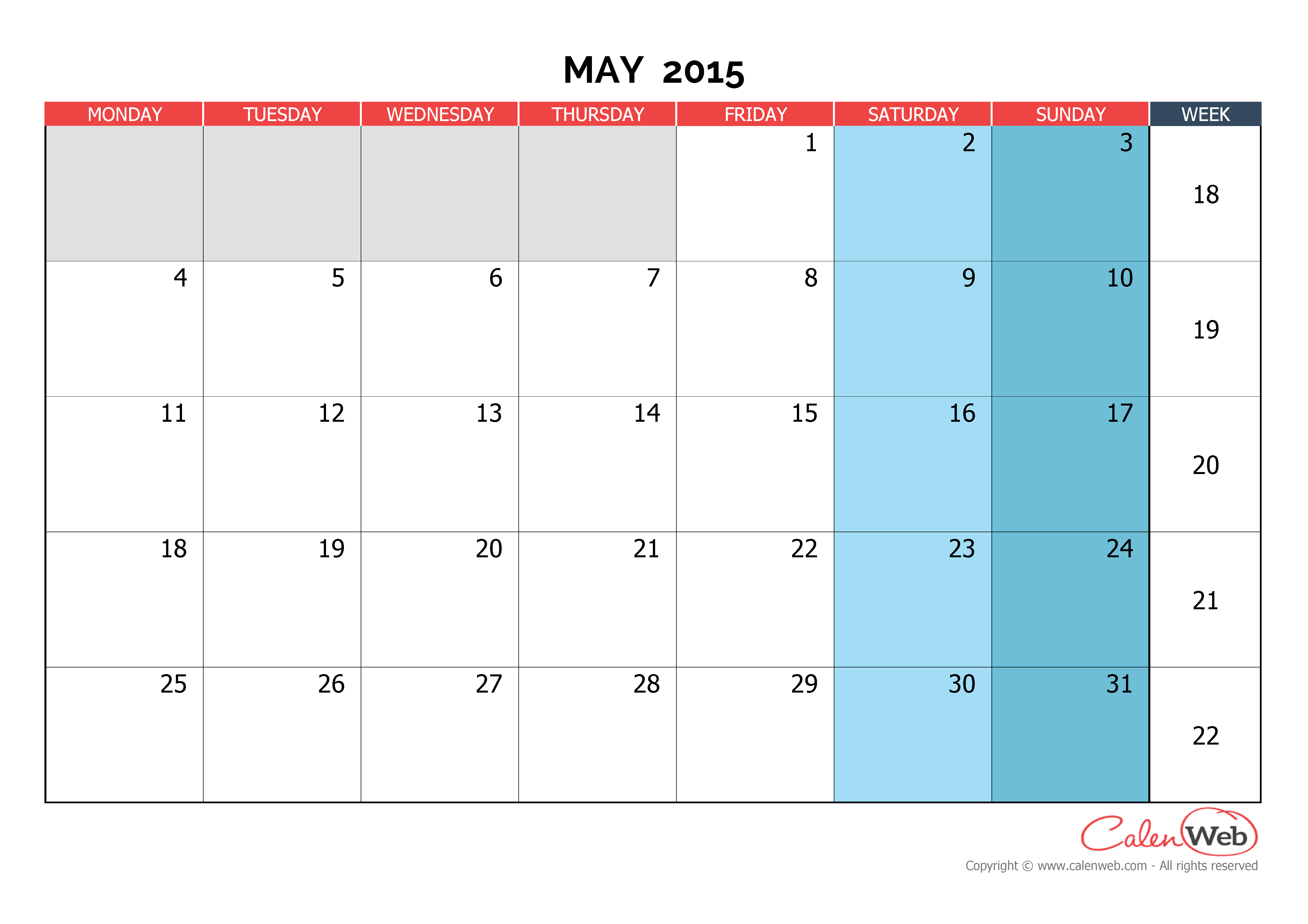 Monthly Calendar - Month Of May 2015 The Week Starts On