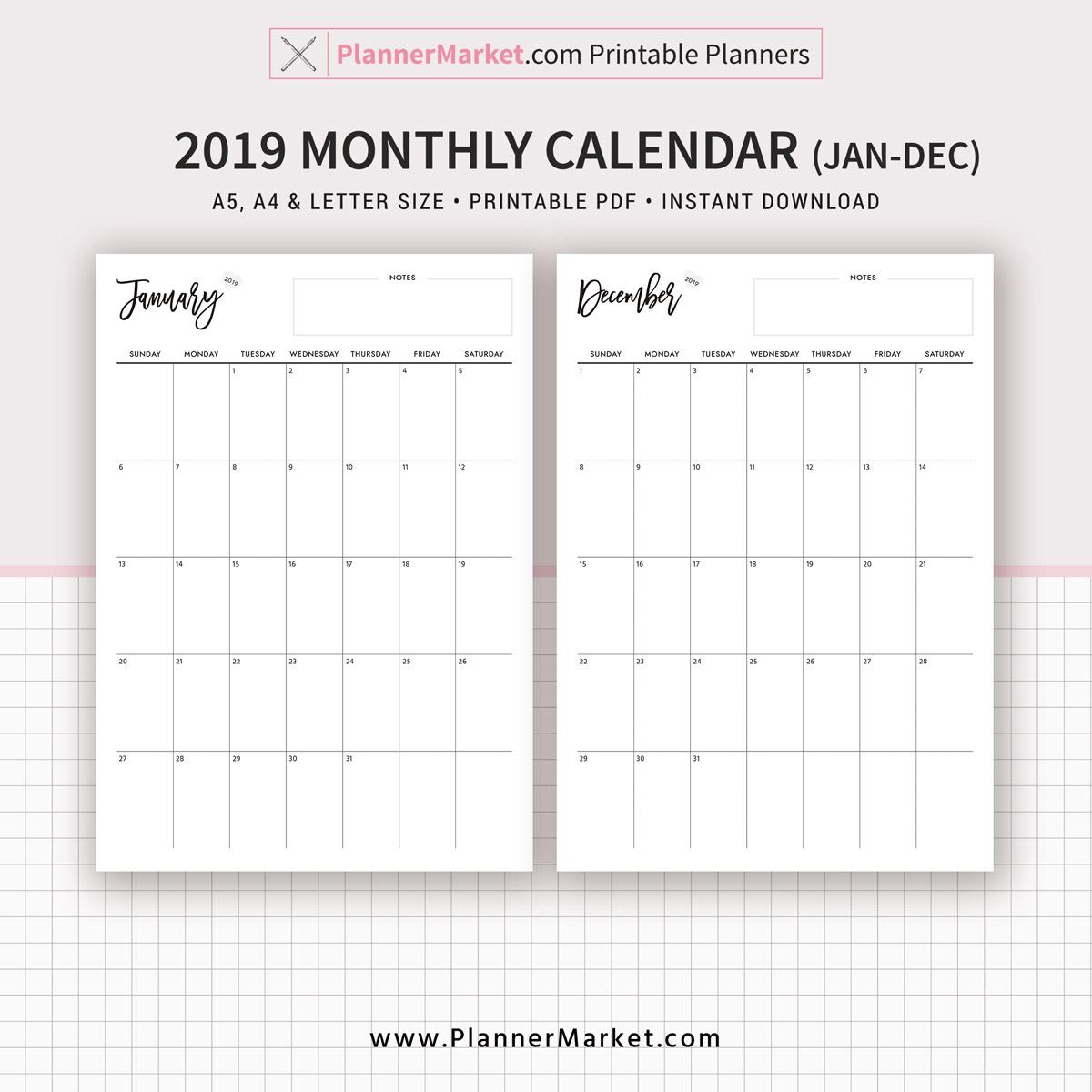 Monthly Calendar, Monthly Planner, 2019 Calendar, A5, A4, Letter Size,  Refills, Planner Binder, Instant Download