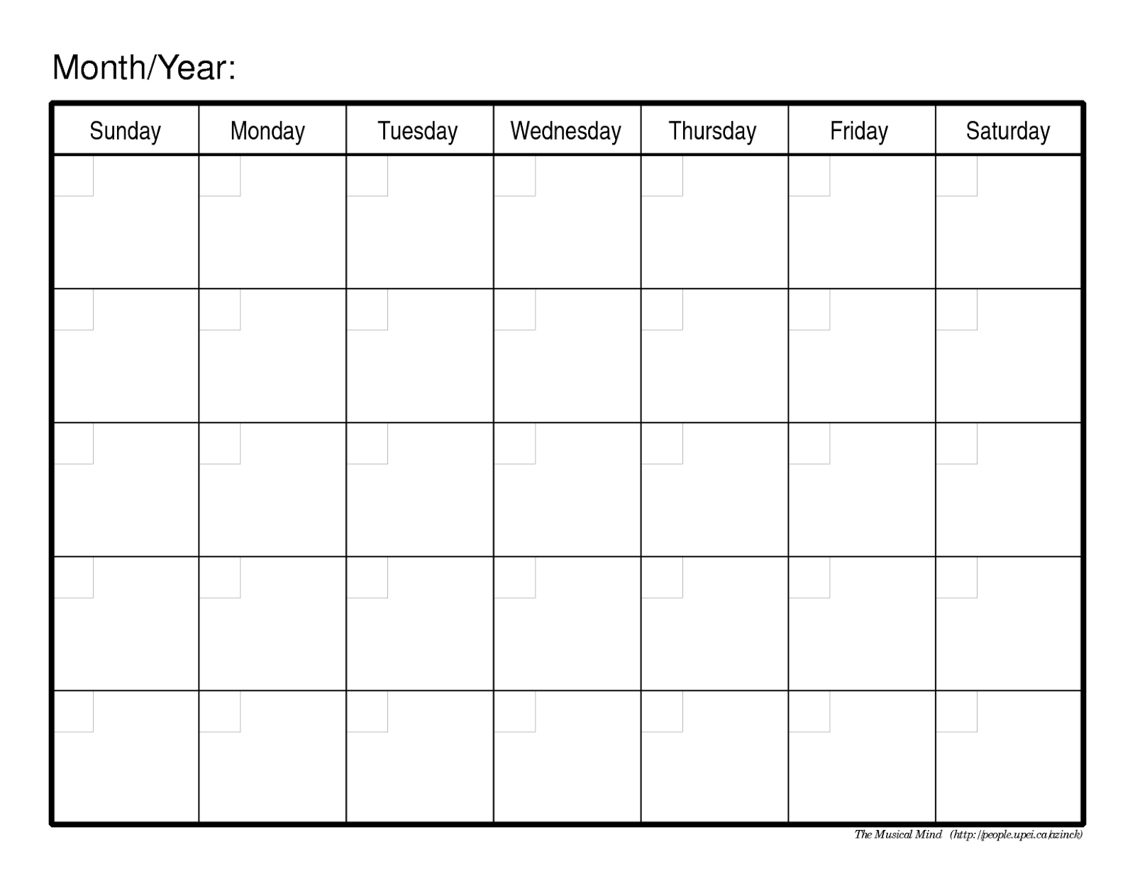 Monthly Calendar No Dates • Printable Blank Calendar Template