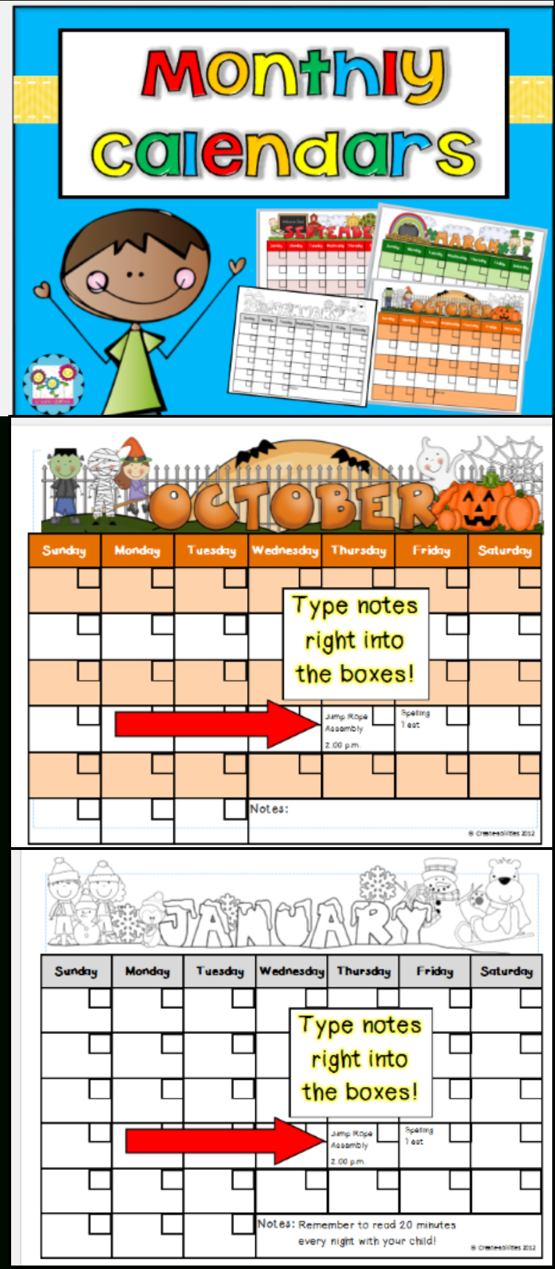 Monthly Calendar Templates Editable | Firstgradefaculty