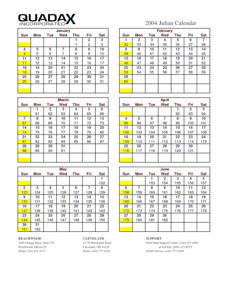 Monthly Calendar With Julian Dates   Calendar Printing Example