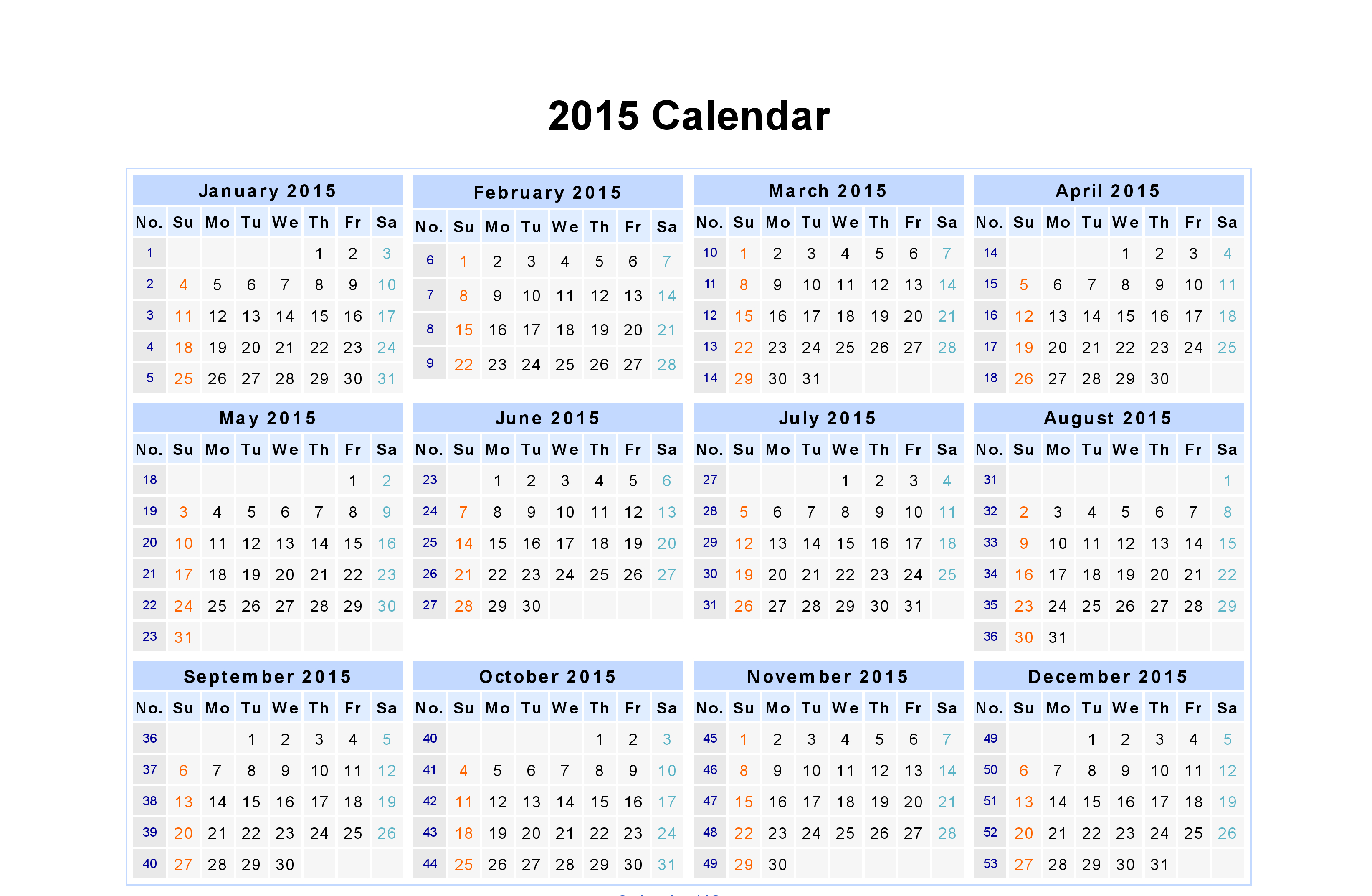Monthly Date Wise Calendar Year 2015 | History | Excel
