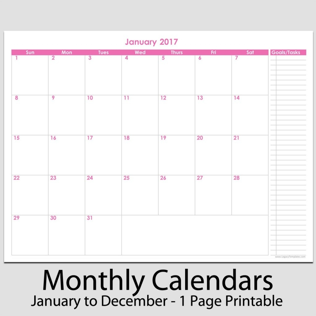 Monthly Goal Calendar Template • Printable Blank Calendar