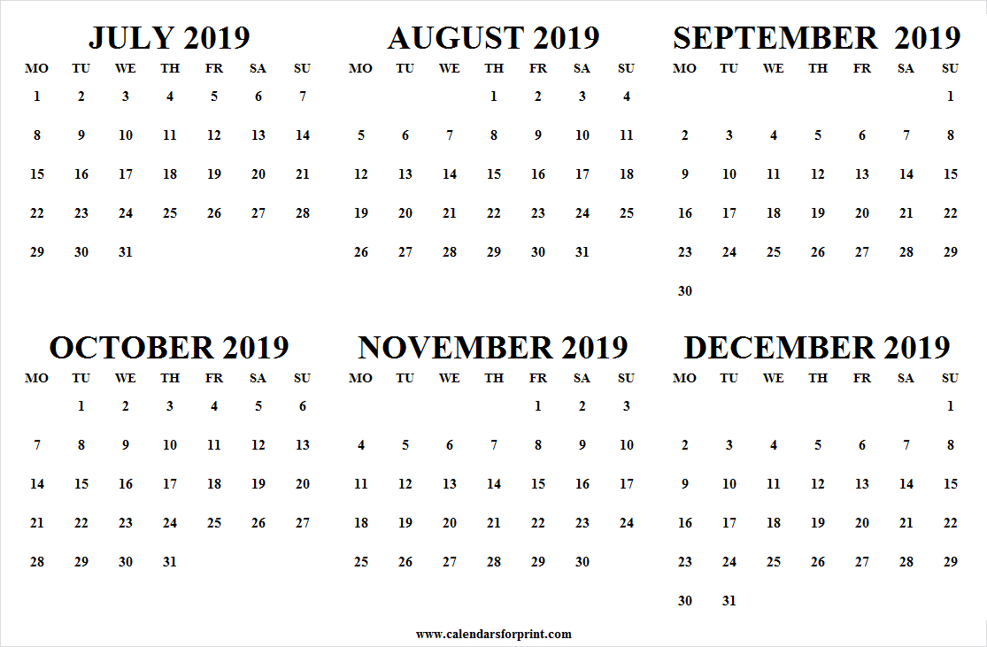 Monthly July December 2019 Calendar | Fillable 2019 Calendar