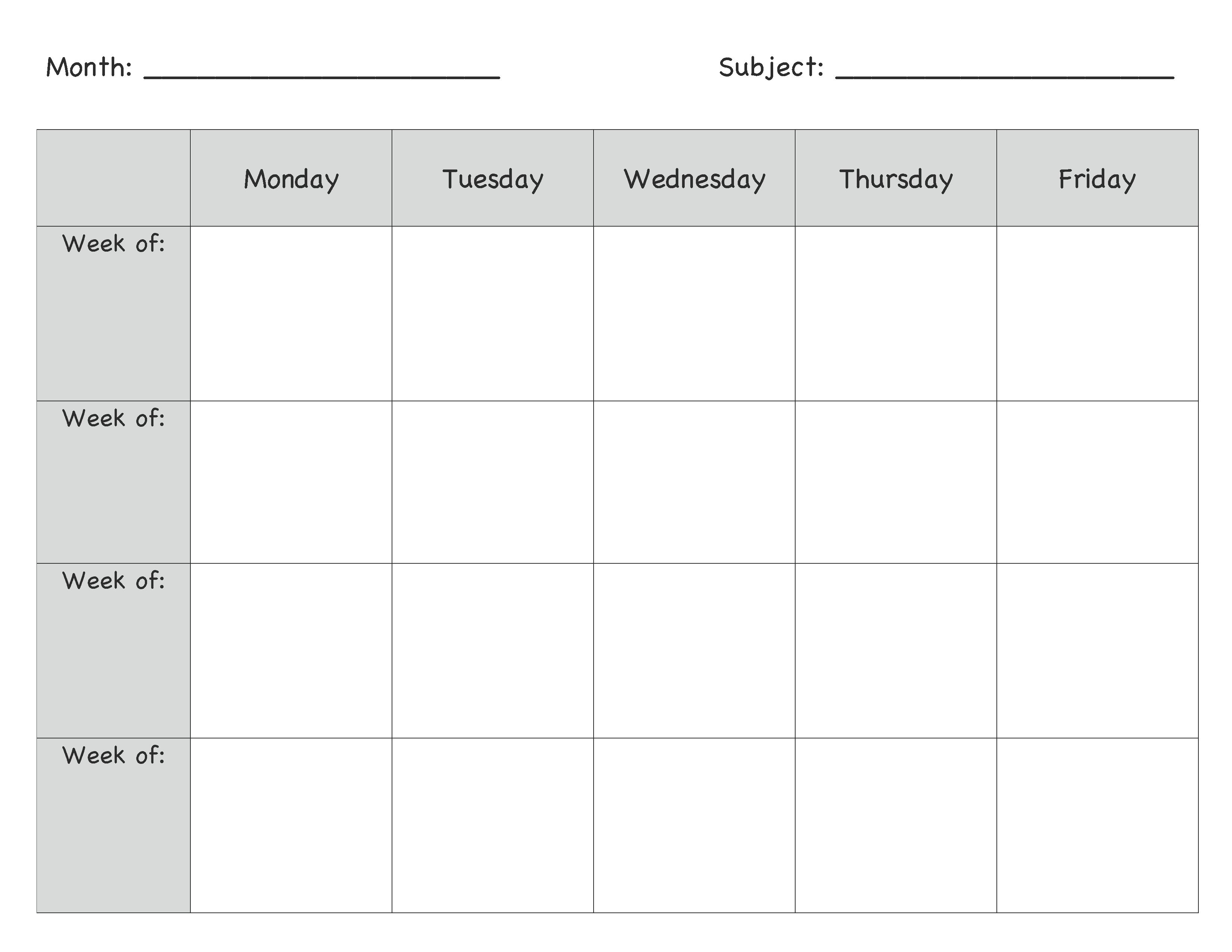 Monthly Lesson Plan Template … | Lesson Plans | Presc…