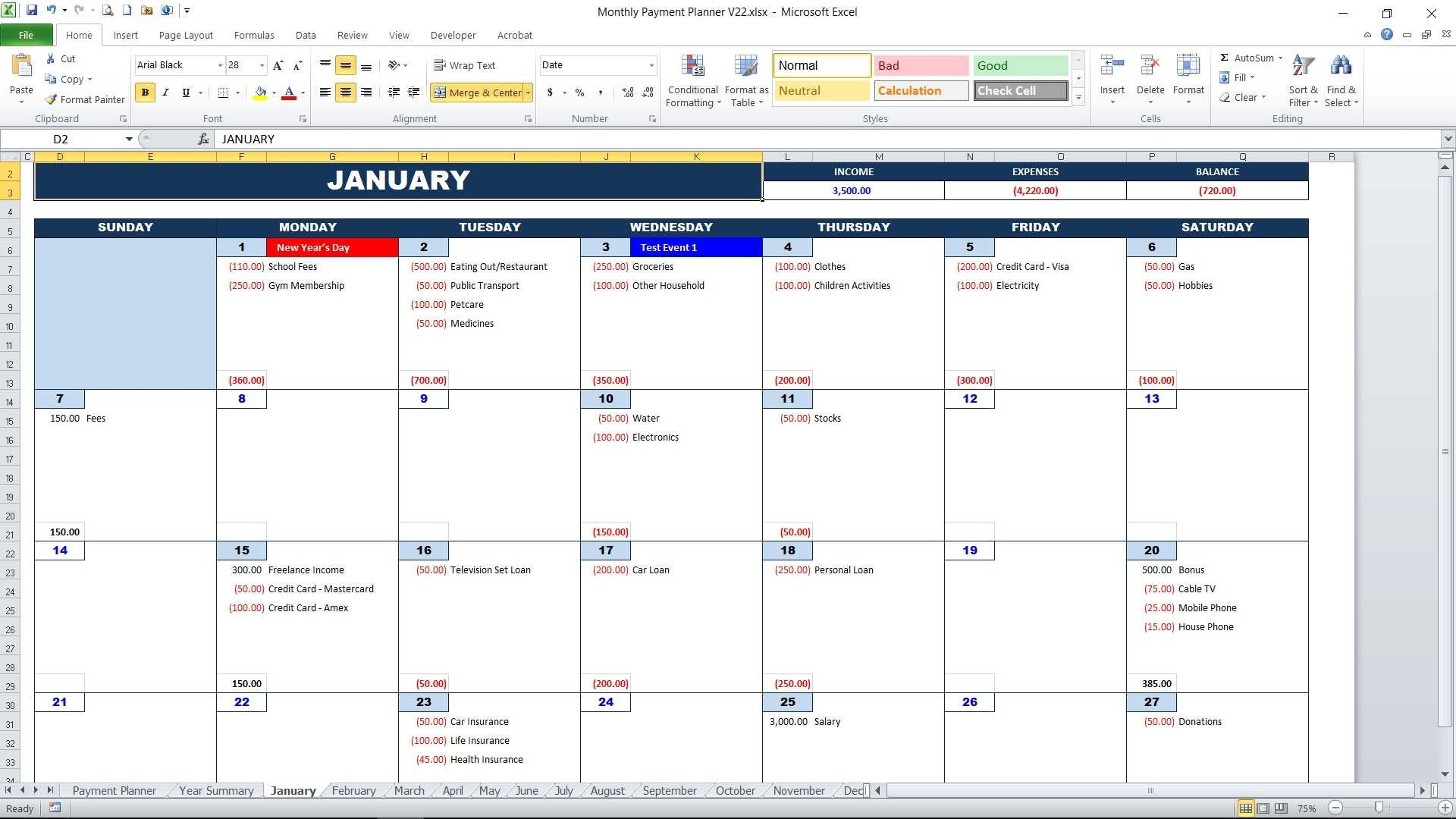 Monthly Payment Planner Calendar View2 With Monthly Bill
