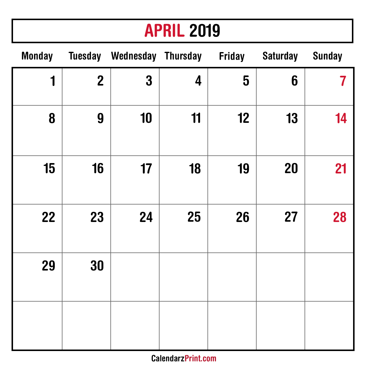 Monthly Planner April 2019 – Printable – Monthly Calendar