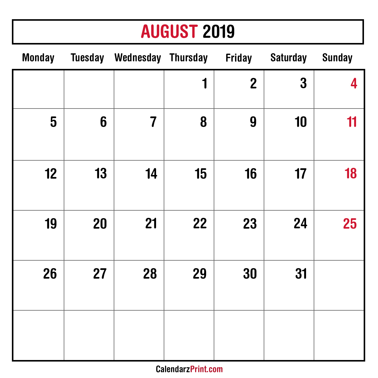 Monthly Planner August 2019 – Printable – Monthly Calendar