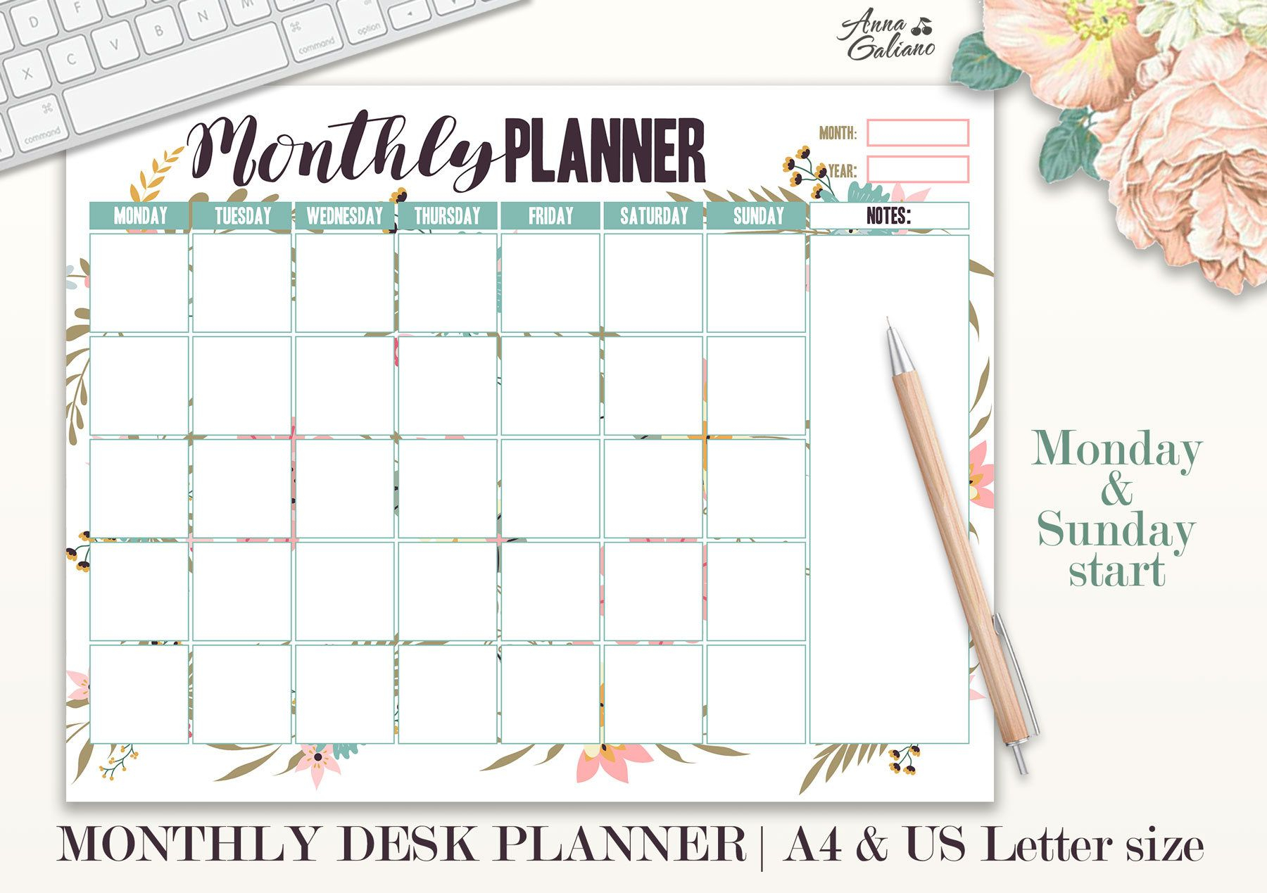 Monthly Planner Printable, Monthly Desk Pad Calendar