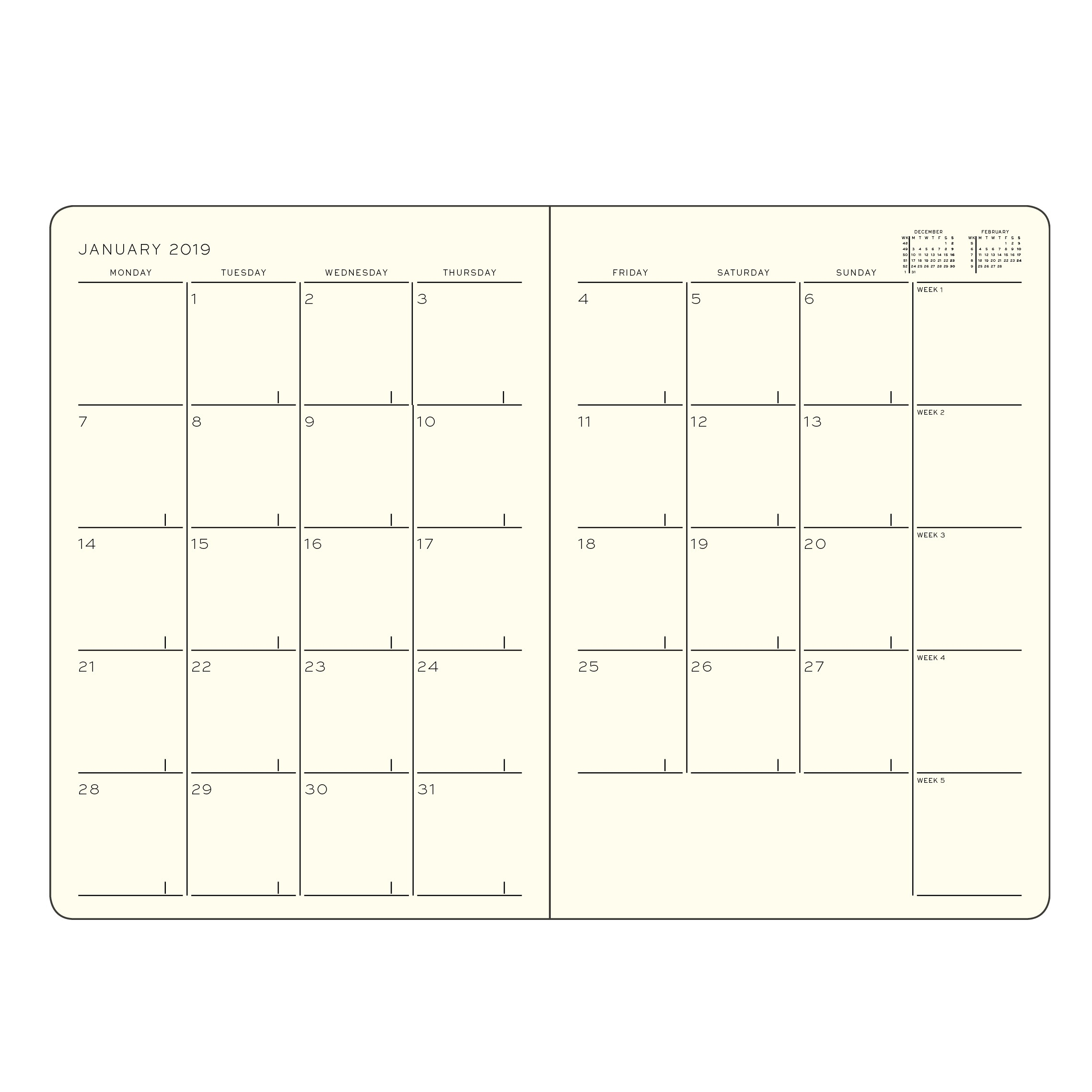 Monthly Planner With Notebook, 2019 English