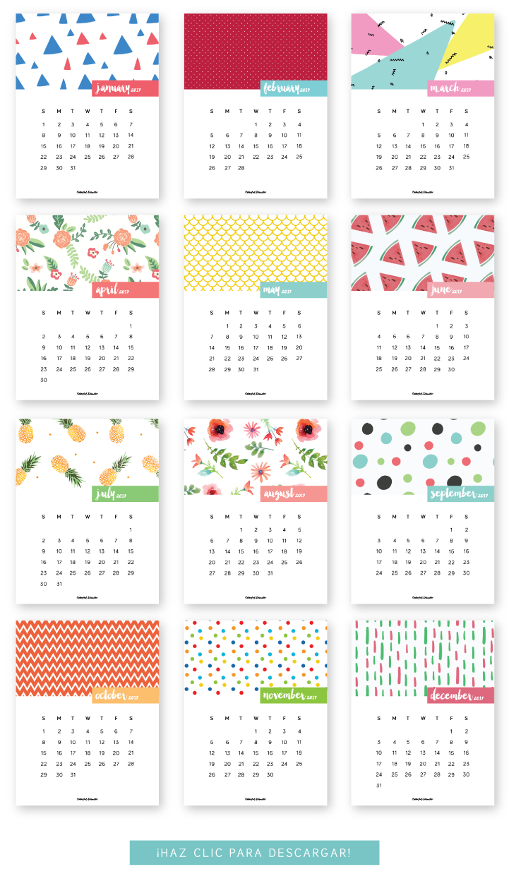 Monthly Printable Calendar 2017 | Clever Ideas | Free