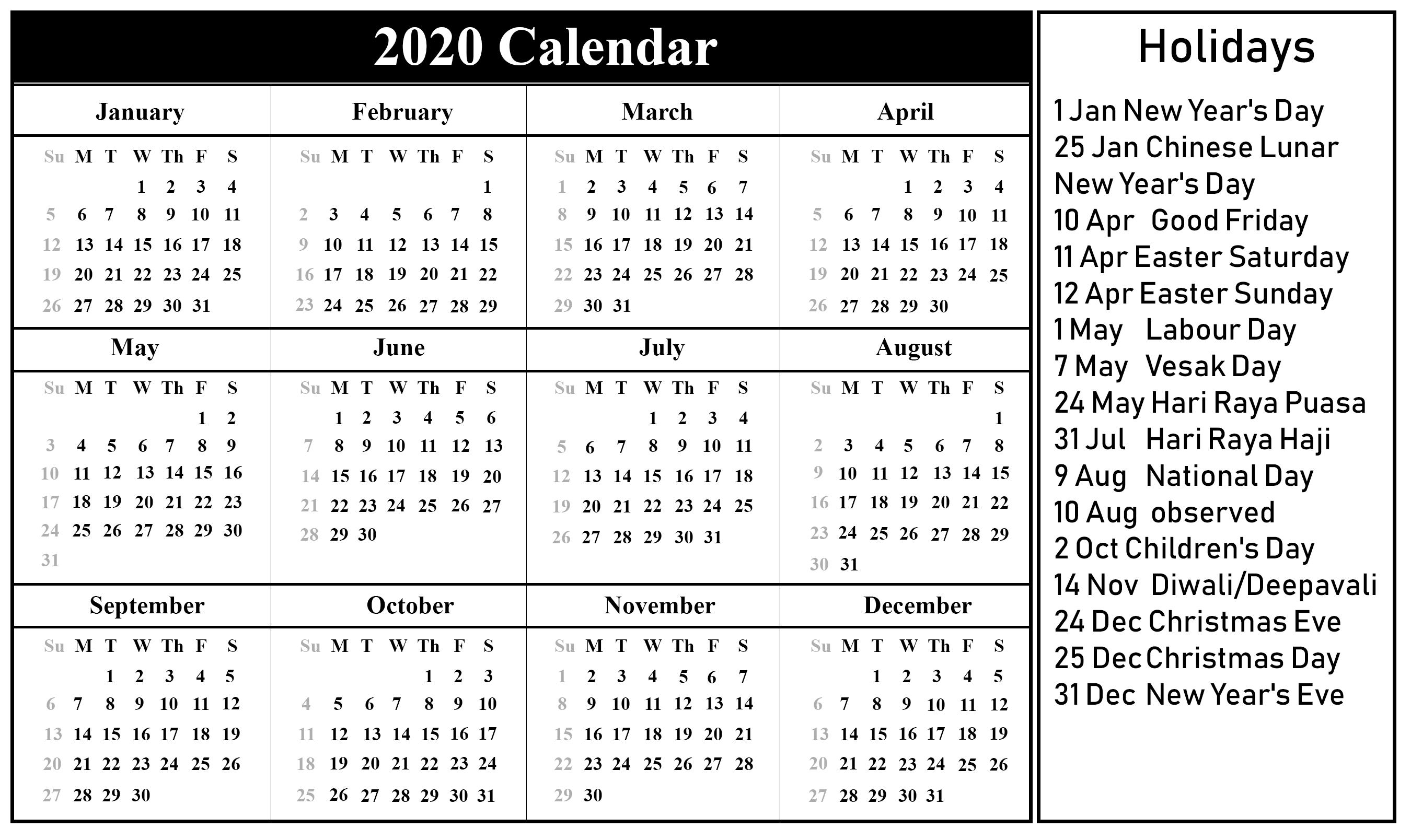National Day Calendar 2020 | 2020 Calendar