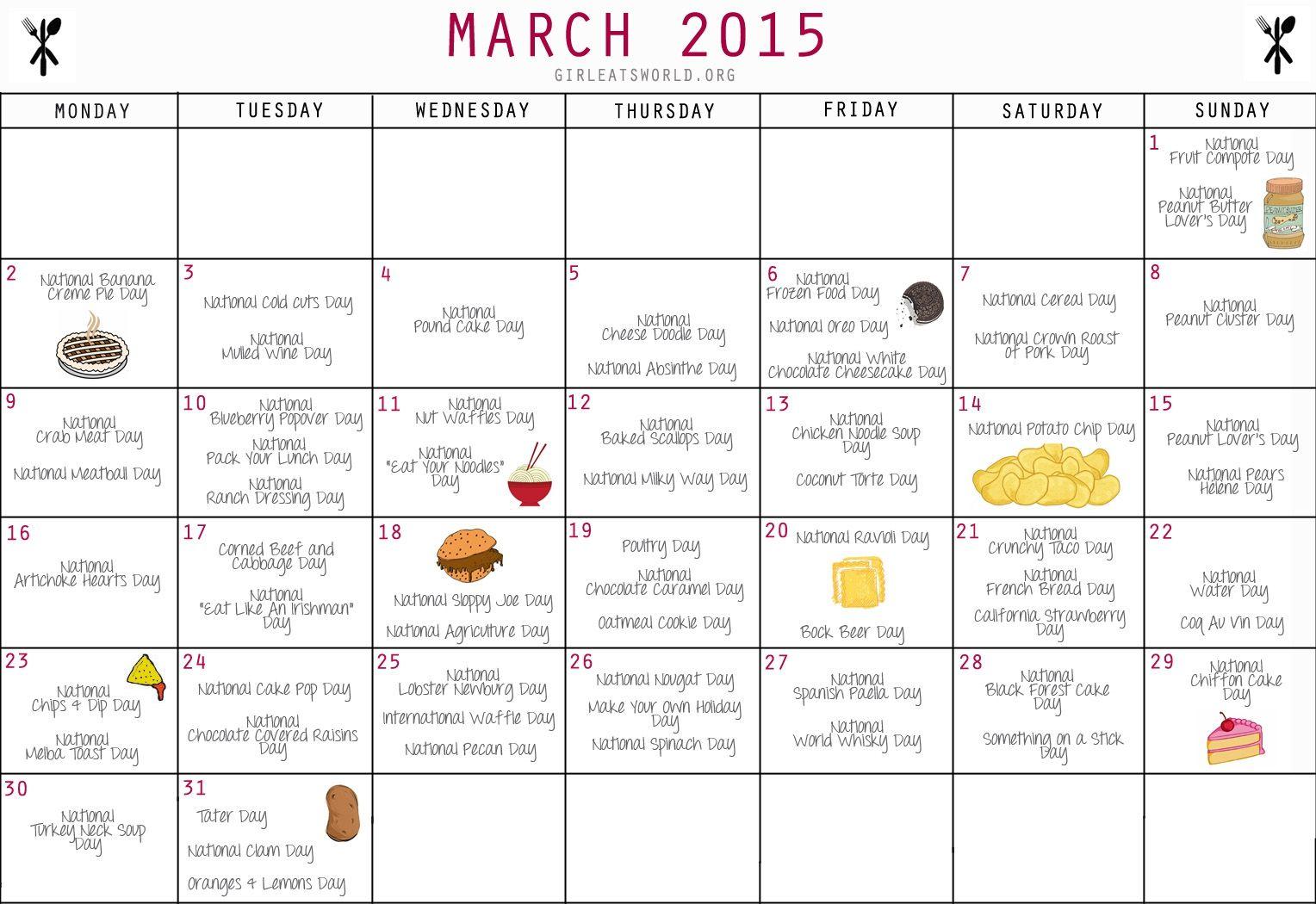 National Food Day Calendar Printable Printable Calendar 2018