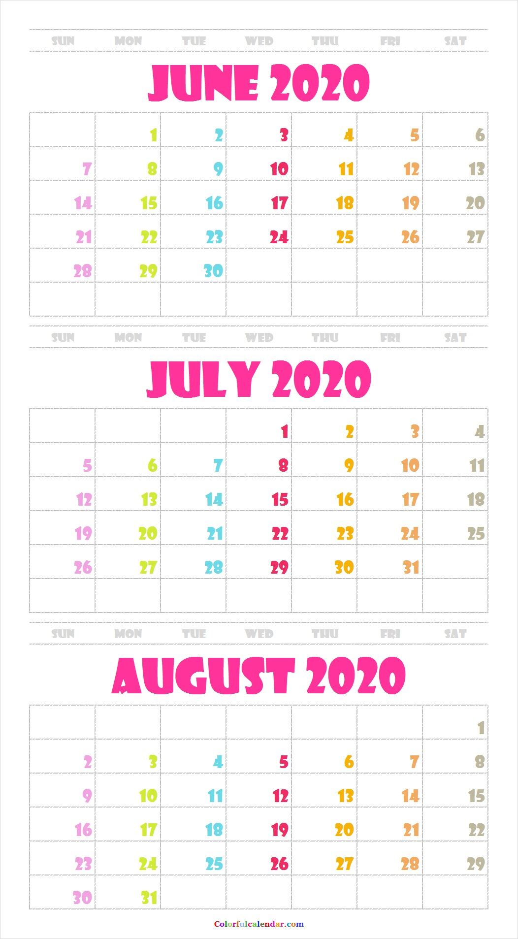 New Cute June July August 2020 Calendar Design | Blank 2020