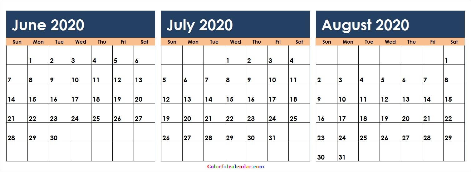 New June July August 2020 Calendar Colorful | Blank 2020