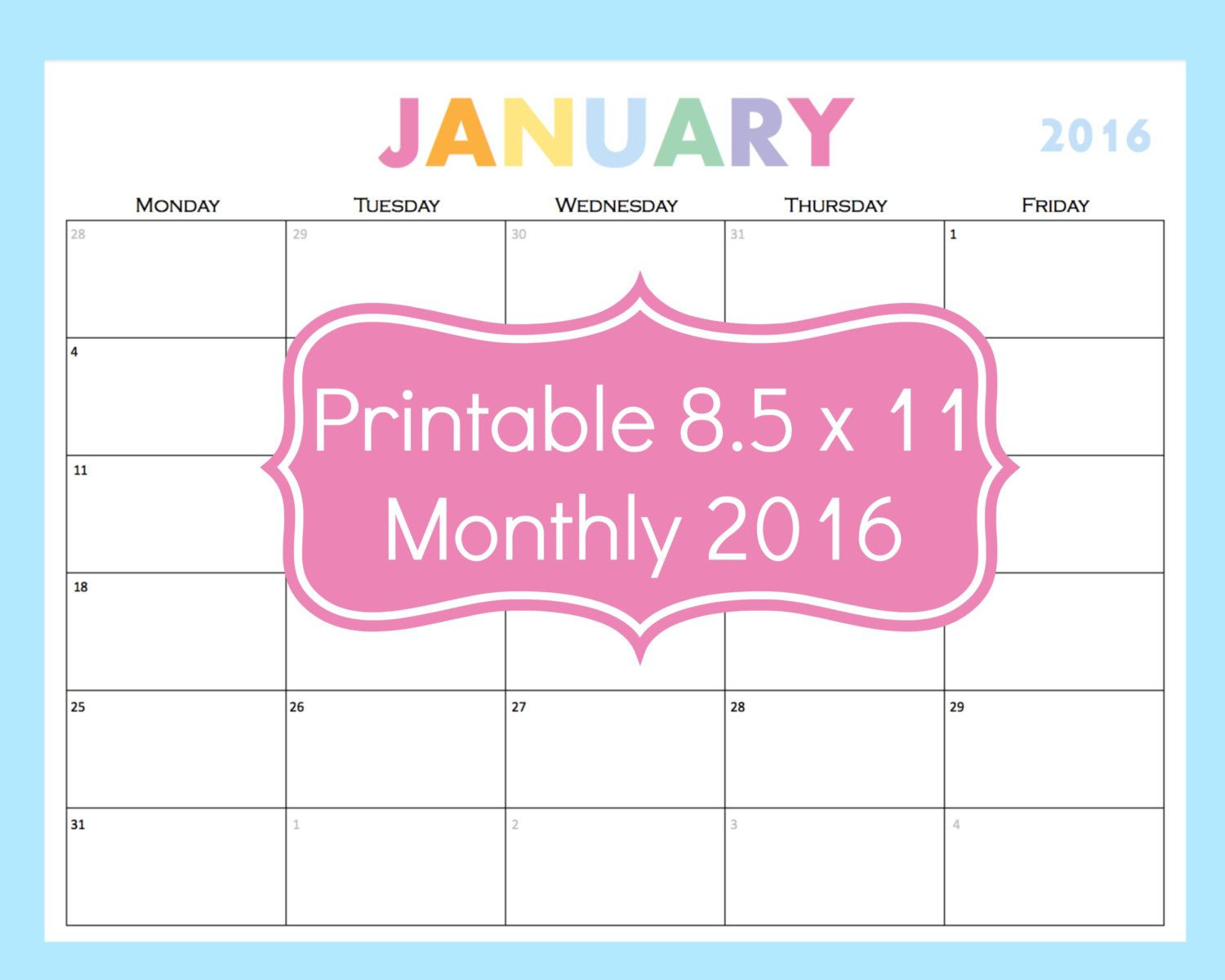 New To Commandcenter On Etsy: Printable Calendar 5 Day