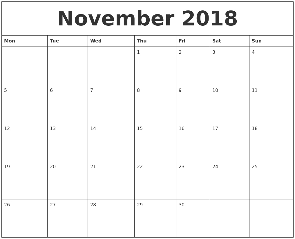 November 2018 Calendar Uk Free Download | November Calendar