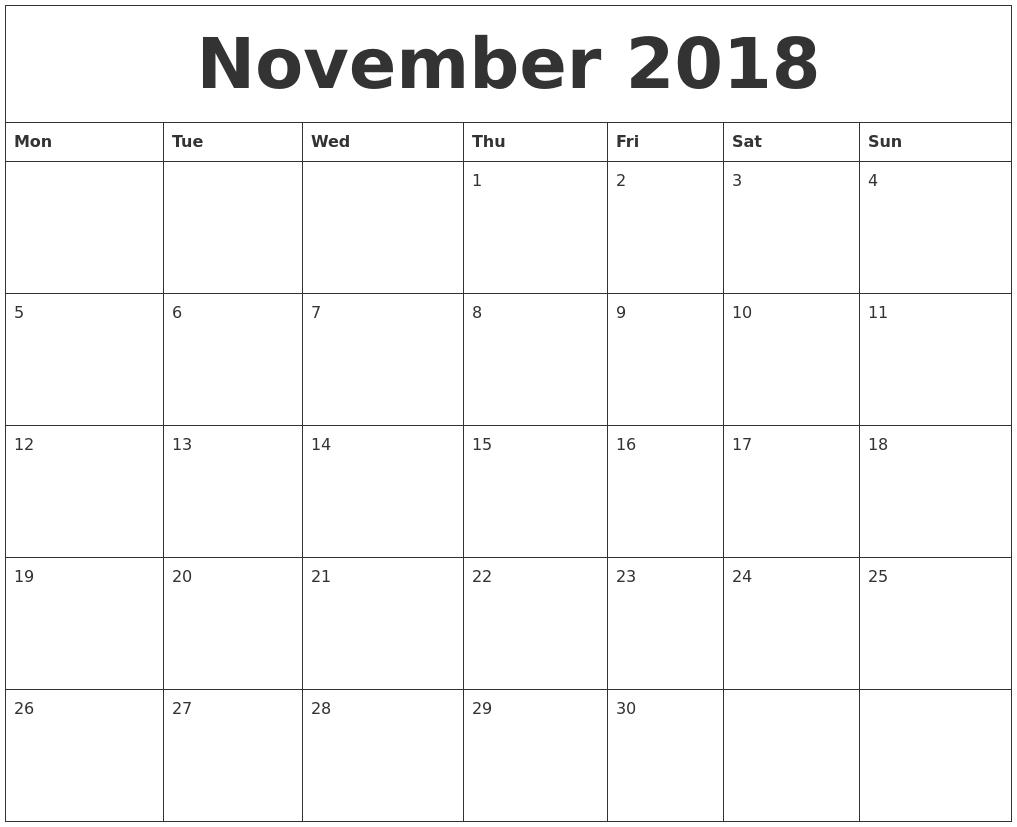 November 2018 Calendar Uk Free Download | November Calendar