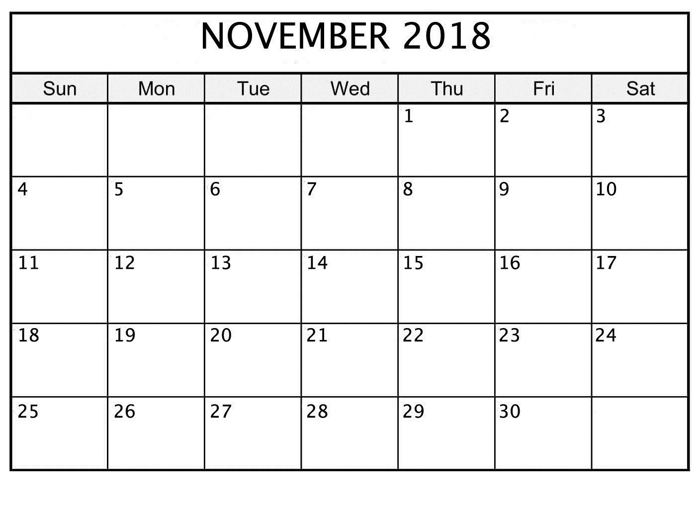 November 2018 Printable Calendar Date And Time   November