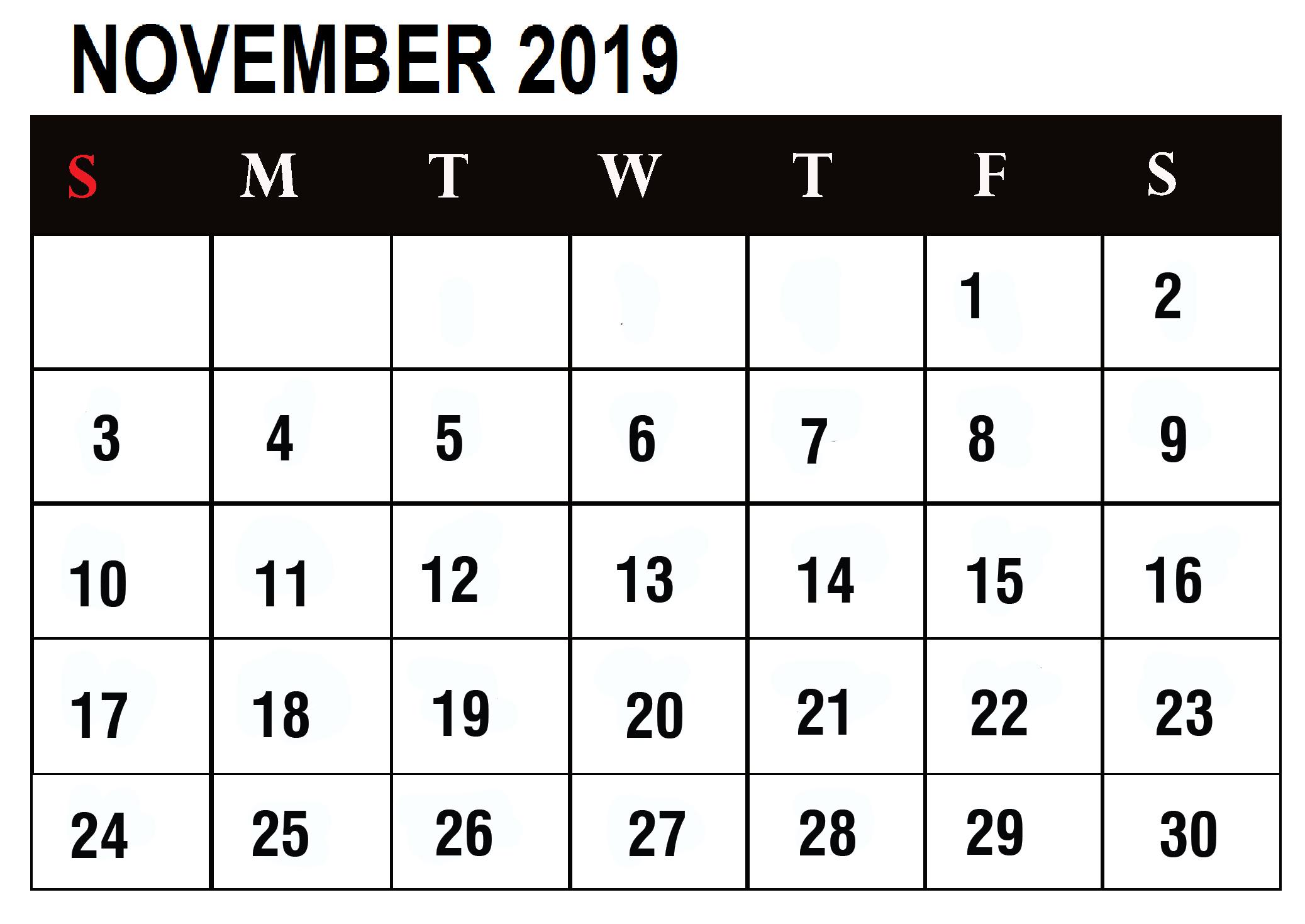 November 2019 Calendar Template For Google Sheets - Latest