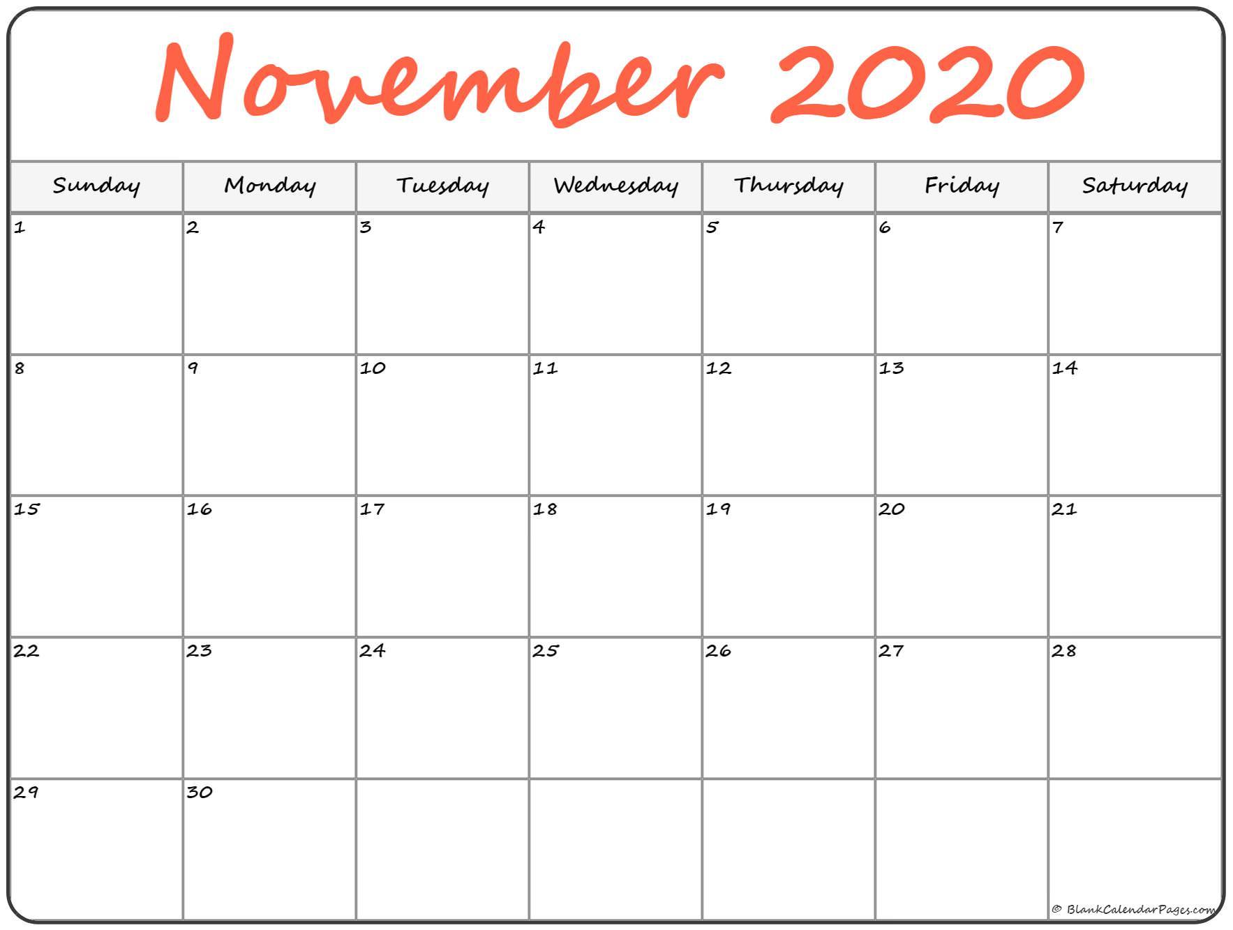 November 2020 Calendar | Free Printable Monthly Calendars