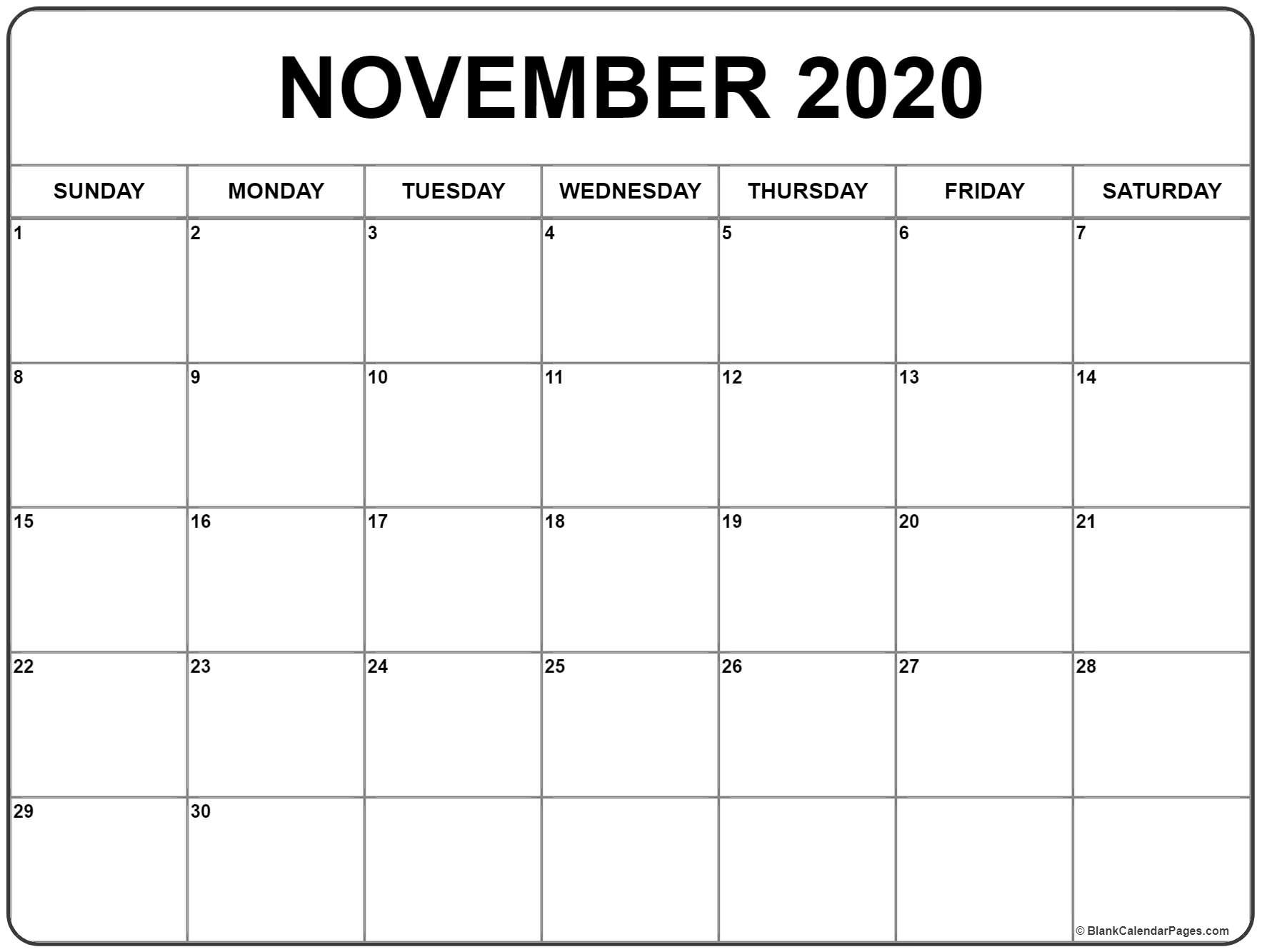 November 2020 Calendar Free Printable Monthly Calendars | Isacl