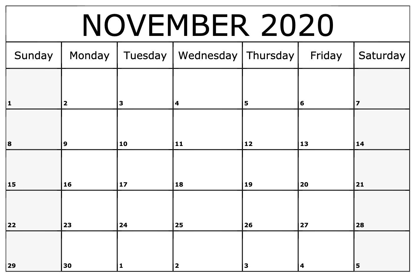 November 2020 Calendar Printable Template   Monthly