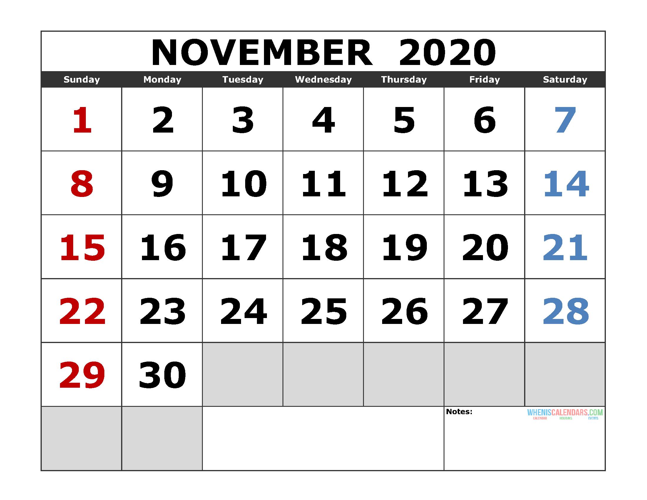 November 2020 Printable Calendar Template Excel, Pdf, Image
