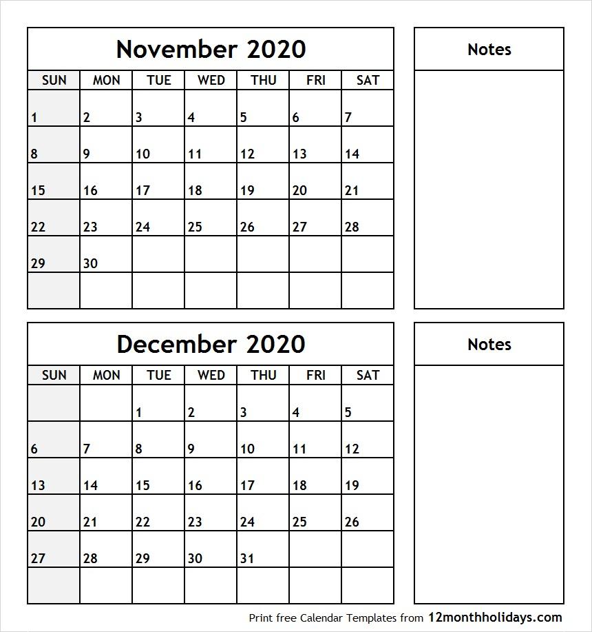 November-December-2020-Printable-Calendar - All 12 Month