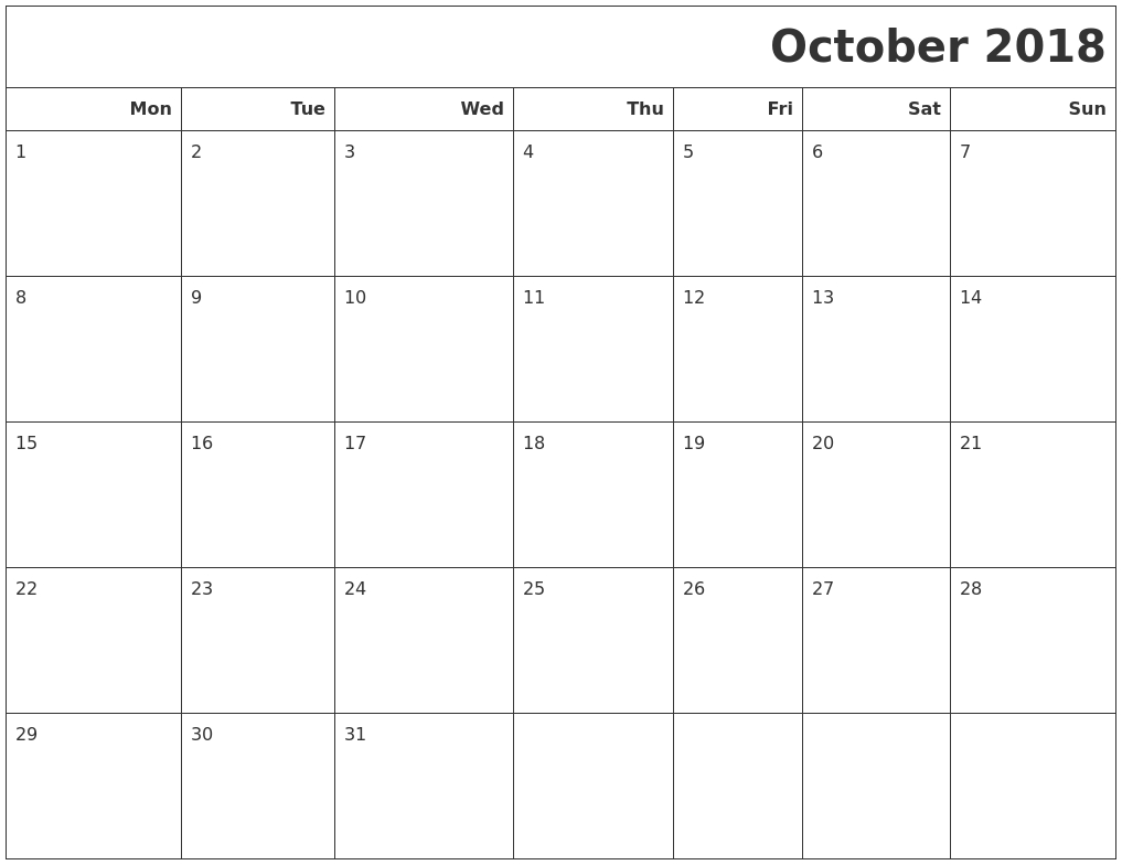 October 2018 Calendar Printable Monday Start | October 2018