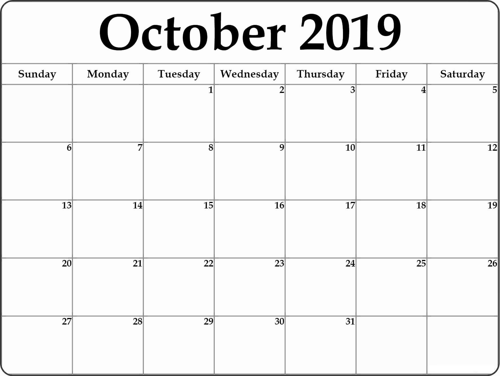 October 2019 Calendar With Holidays Planner - Print Calendar