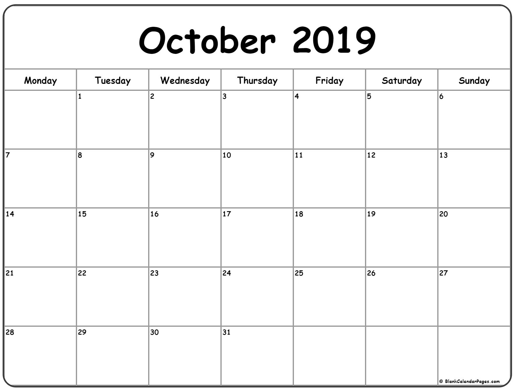 October 2019 Monday Calendar   Monday To Sunday