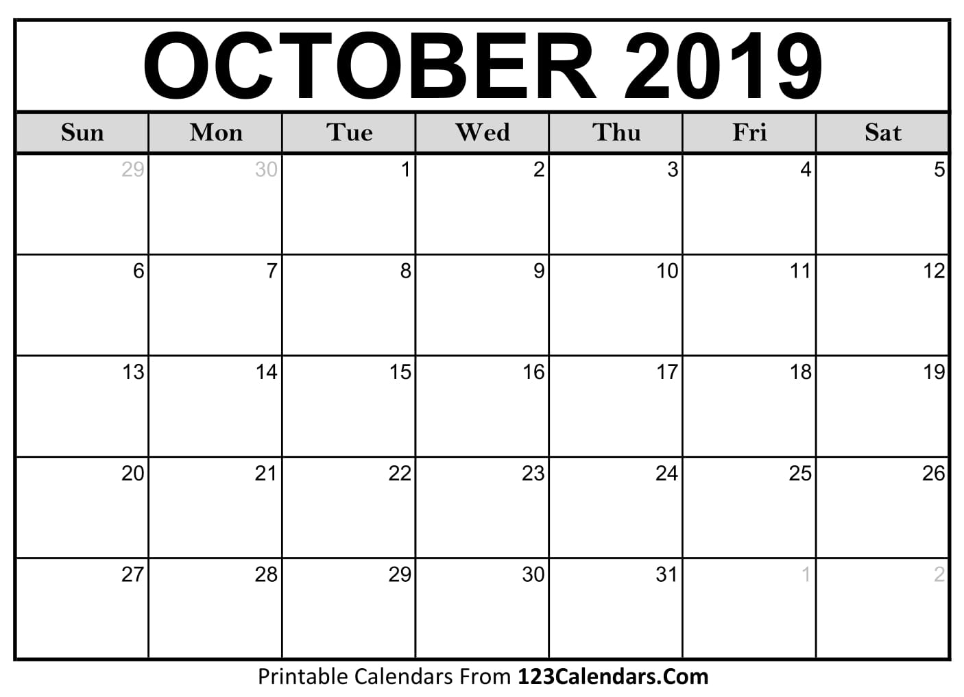 October 2019 Printable Calendar | 123Calendars