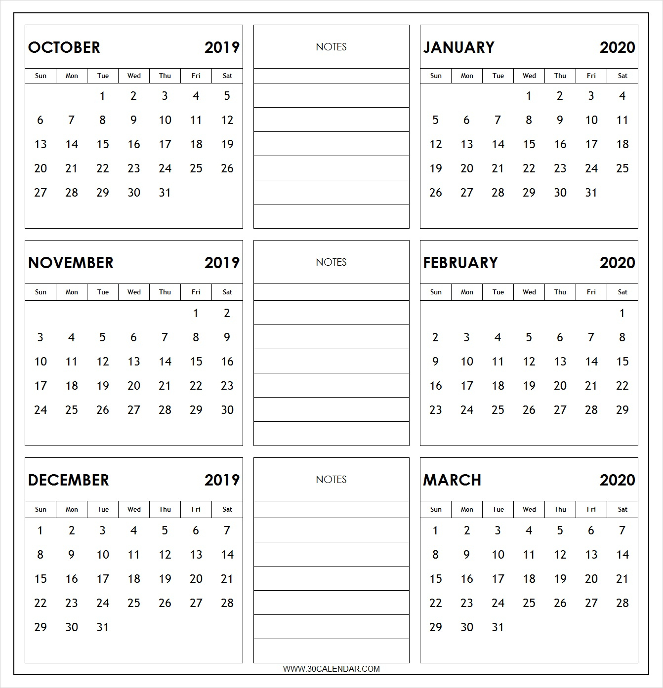 October 2019 To March 2020 Calendar Printable | 6 Month 2019