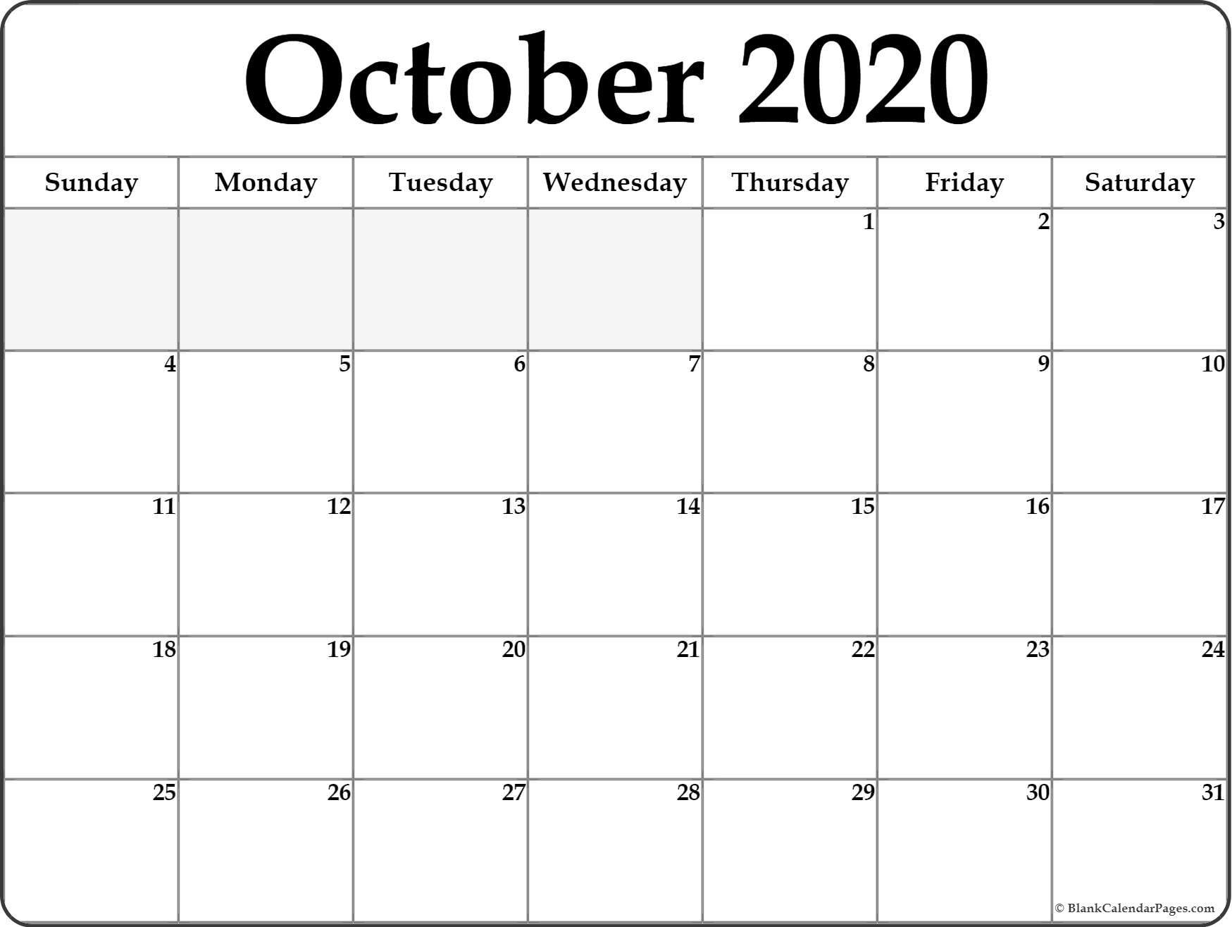 October 2020 Blank Calendar Templates.