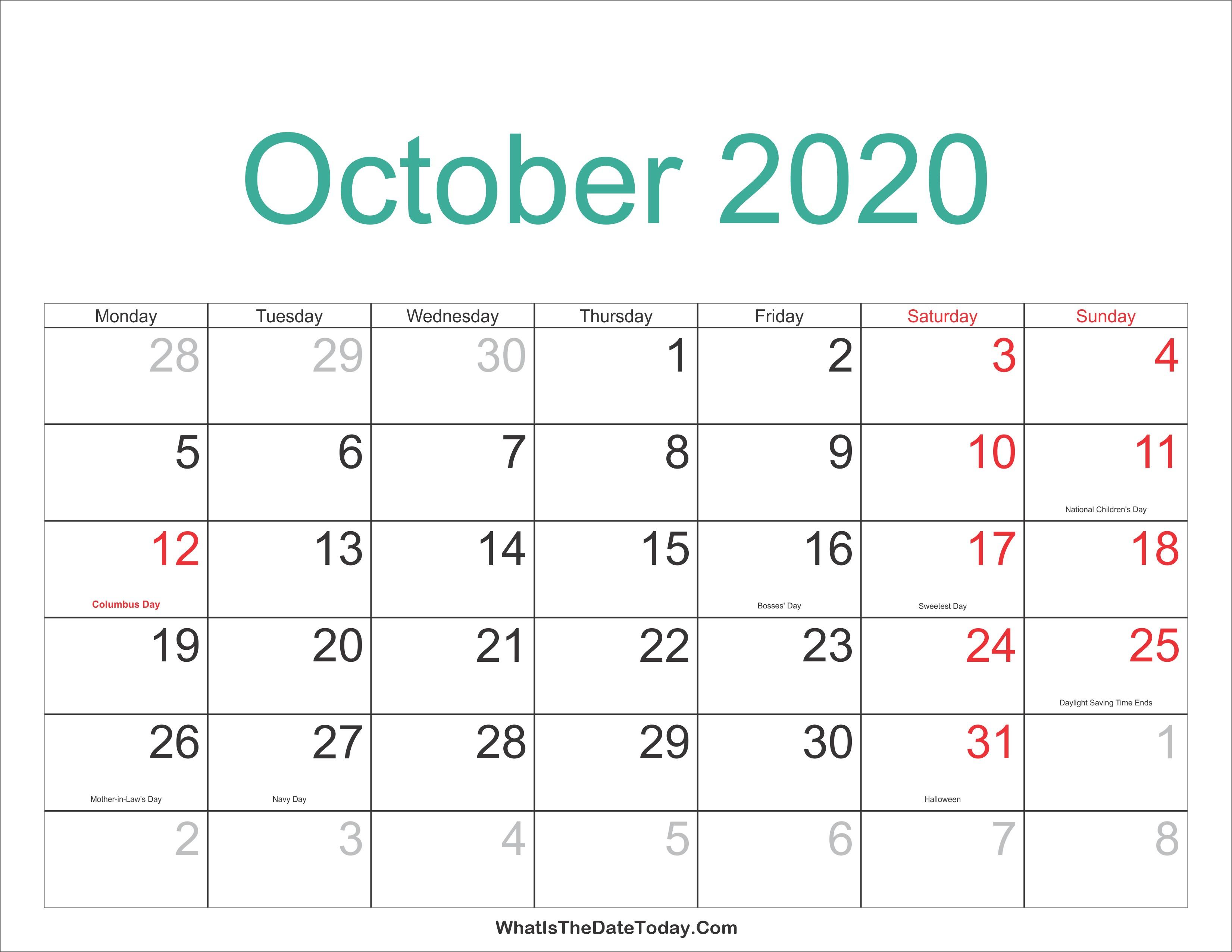 October 2020 Calendar | Thekpark-Hadong