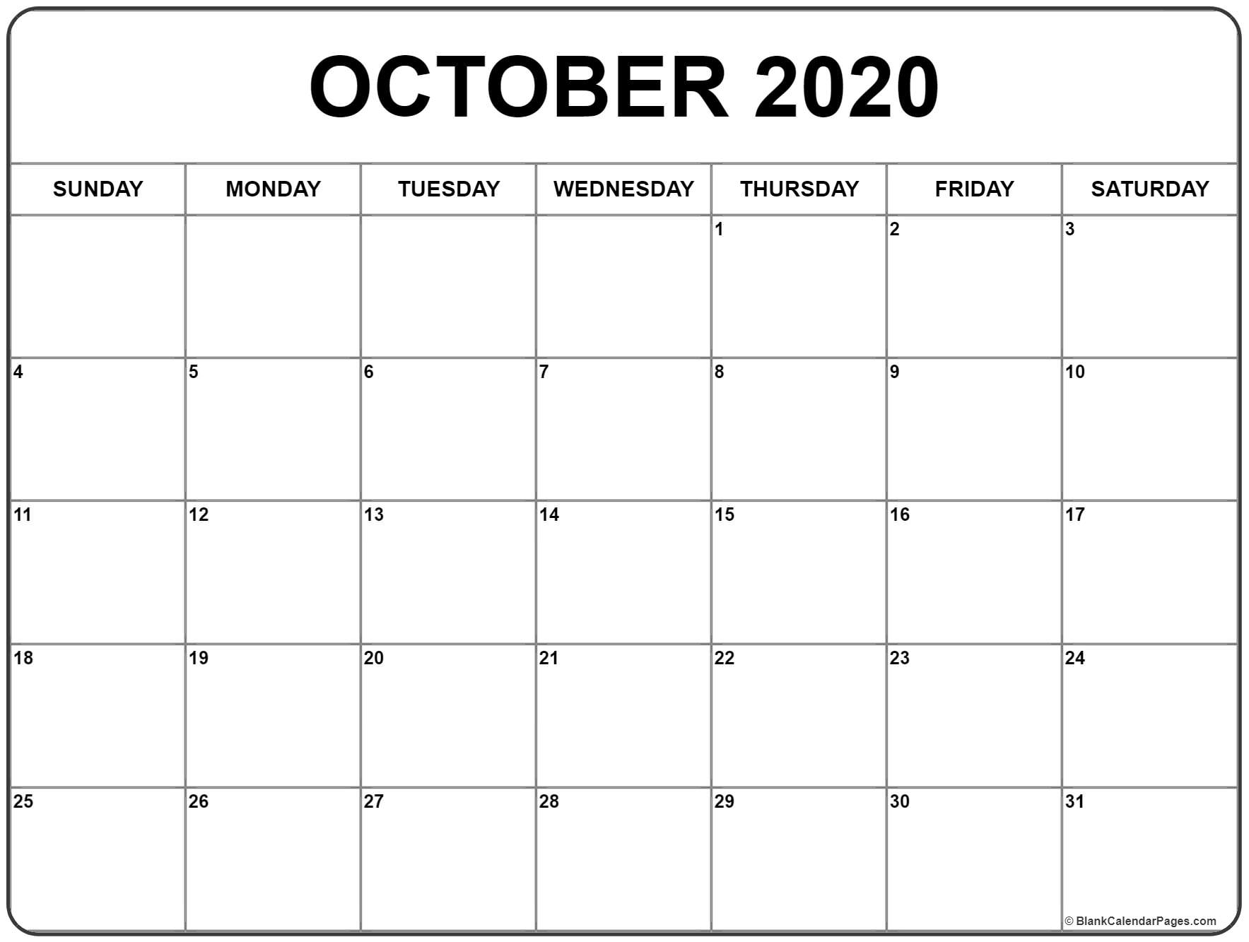 October 2020 Calendar With Holidays Printable | Isacl