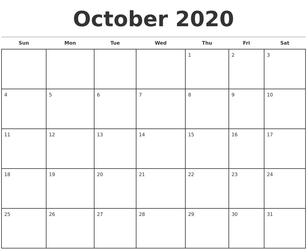 October 2020 Monthly Calendar Template
