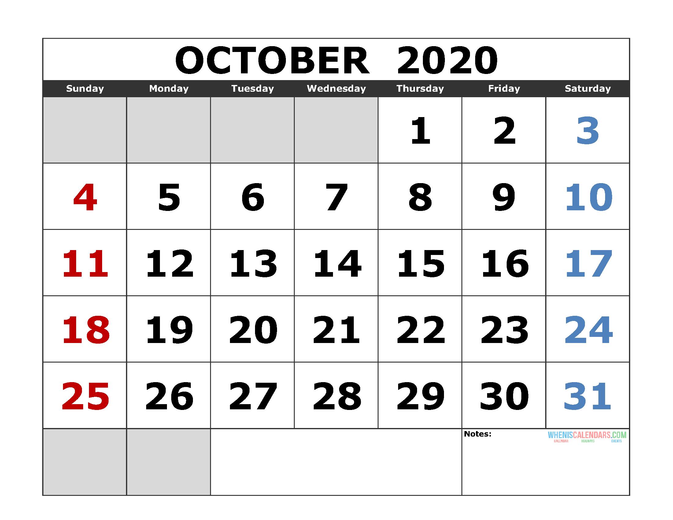 October 2020 Printable Calendar Template Excel, Pdf, Image
