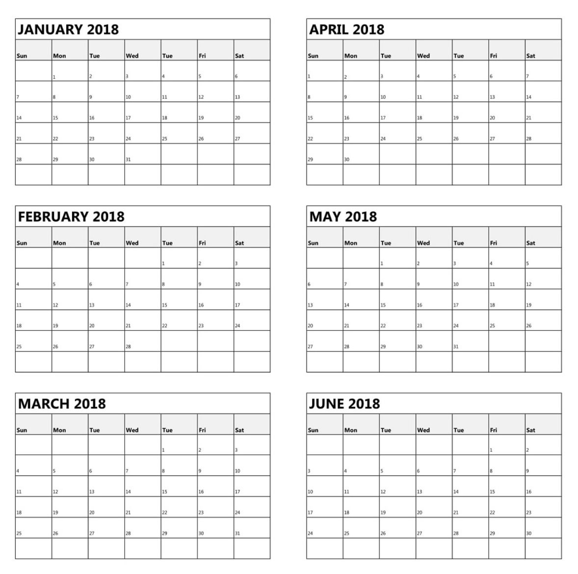 One Page 6 Month Calendar 2018 | Latest Calendar | Calendar