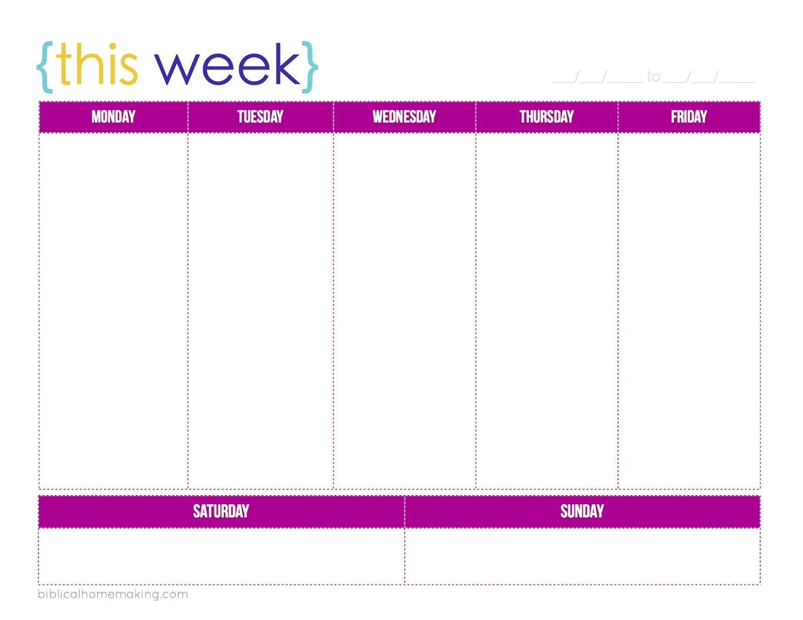 One Week Calendar Printable Schedule Ate Blank   Smorad