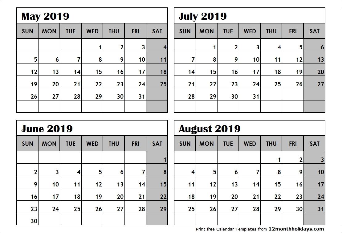 Optimum Four Months Per Page 2019 Calendar Printable June