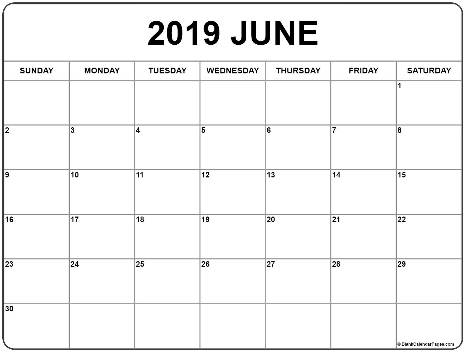 Optimum Printable Calendar June 2019 On 2 Page Per Month
