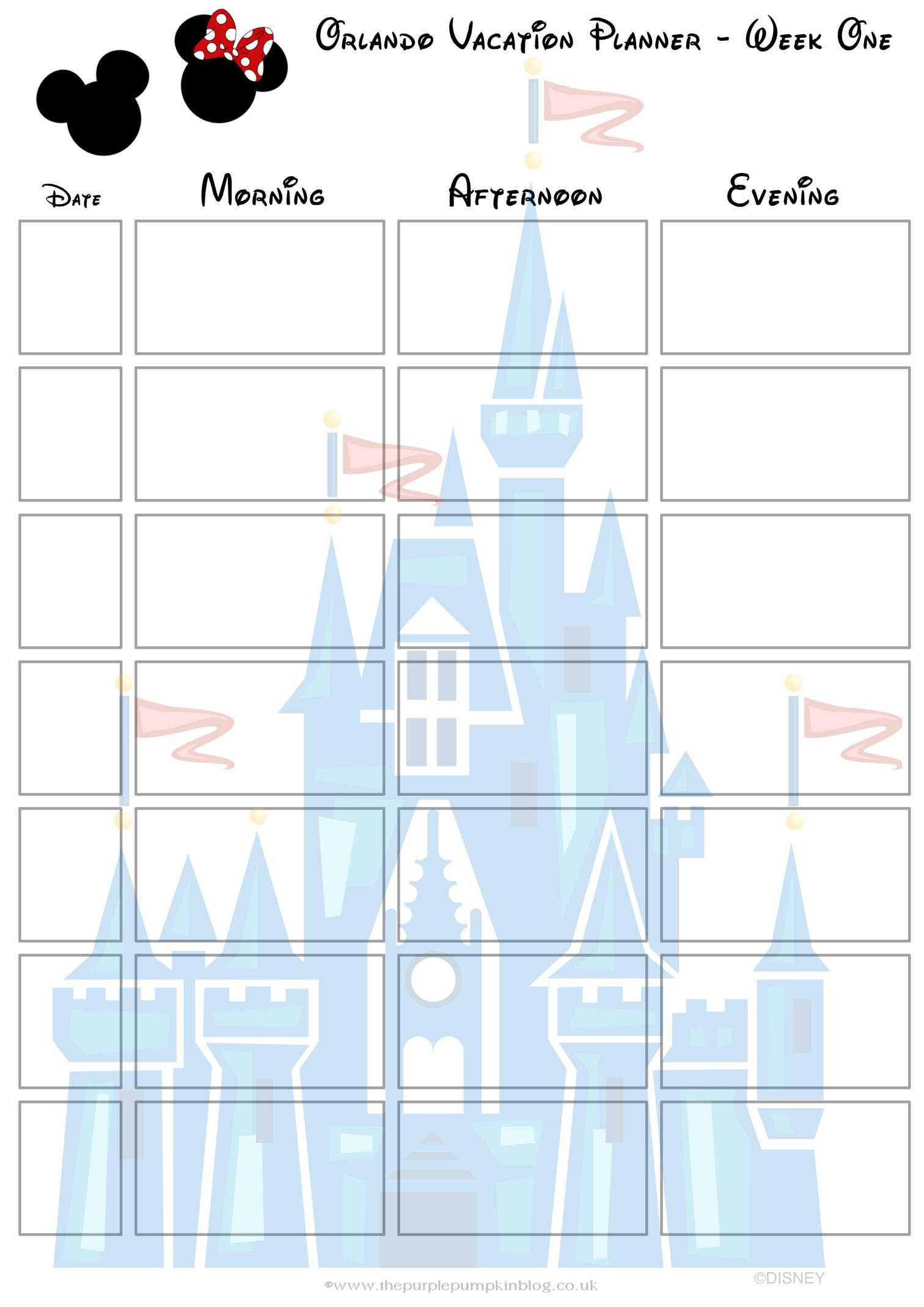 Orlando, Walt Disney World Vacation Planner | Free Printable