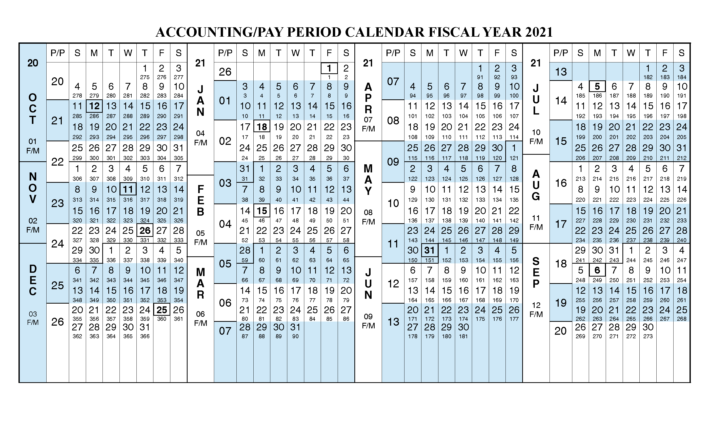 Payroll Calendar 2021 Fiscal Year Calendar [ Oct 2020 - Sep