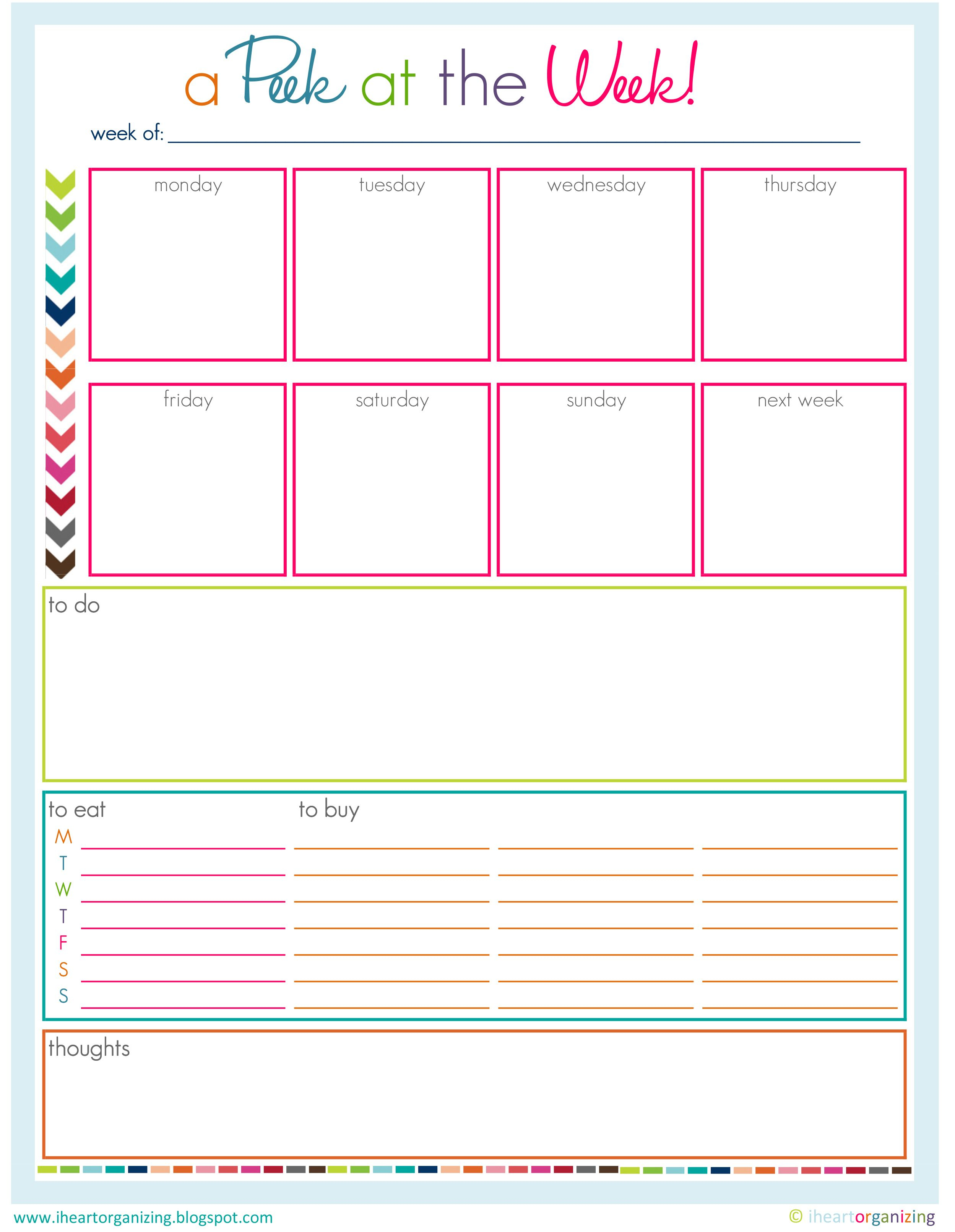 Peek At The Week | Design Stuff | Blog Planner, Printables
