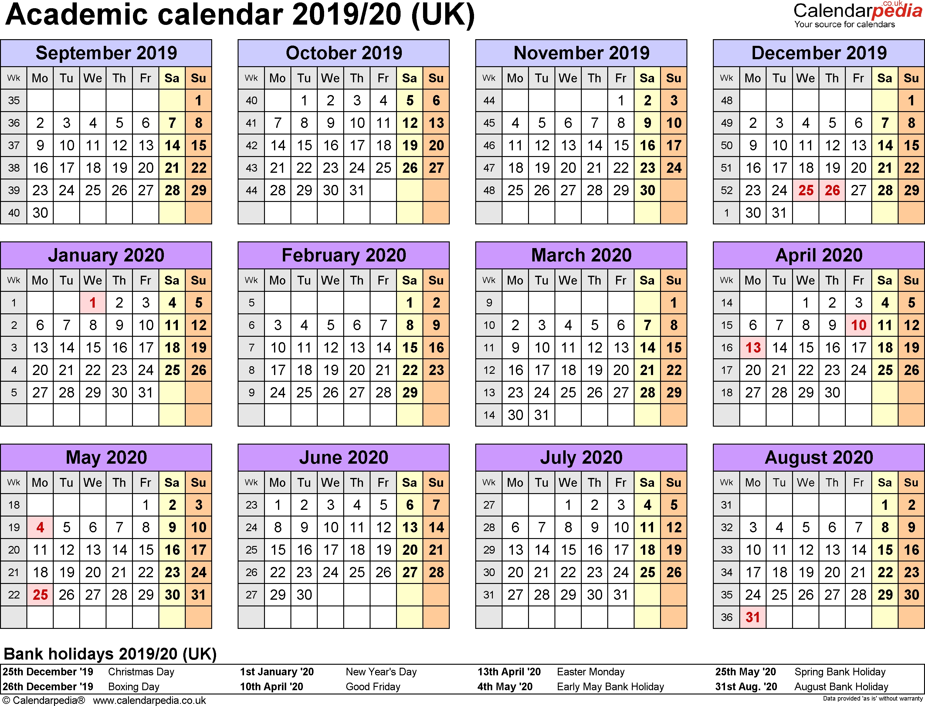 Perky 2020 Calendar Uk Bank Holidays • Printable Blank