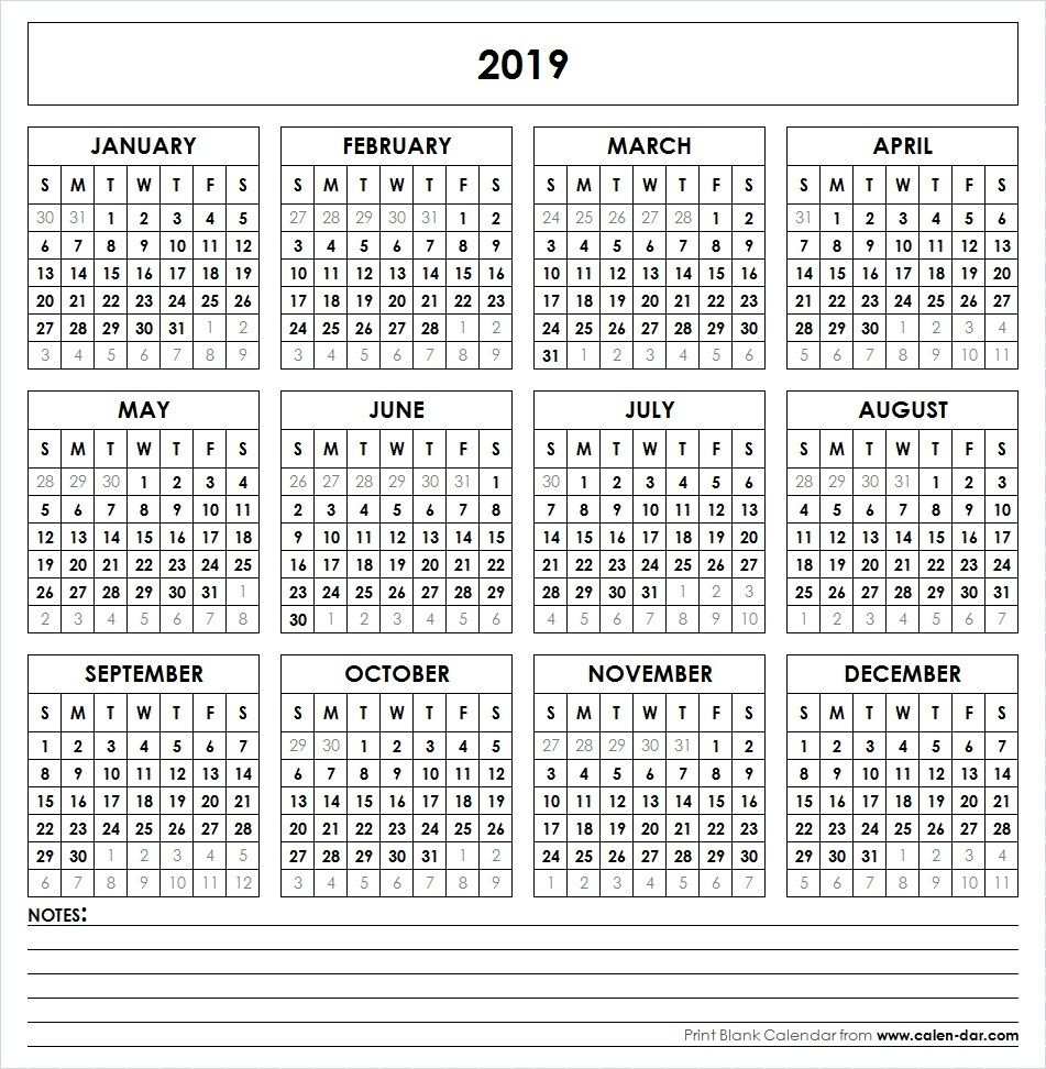 Perky 2020 Calendar With Date Boxes • Printable Blank
